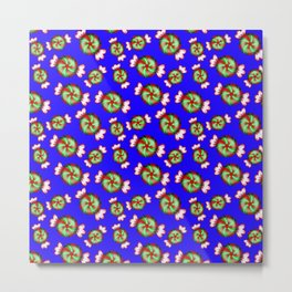Cute lovely sweet decorative red and green candy pattern on midnight blue background Metal Print