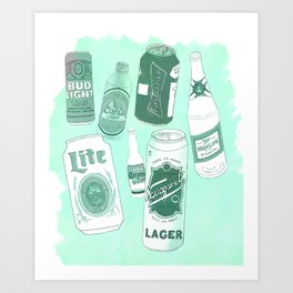 Vacation beers in mint green Art Print