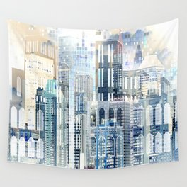 Blue City Scape Wall Tapestry