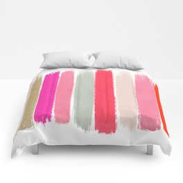 Minnie - Abstract Brushstroke pattern print in modern colors gold pink Comforters