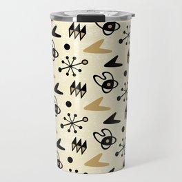 Mid Century Modern Atomic Boomerang Pattern Gold 102 Travel Mug