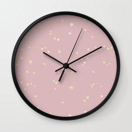 Pretty Pink & Gold Stars Wall Clock