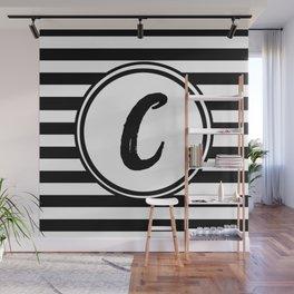 C Striped Monogram Letter Wall Mural