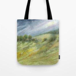 Precious Green Watercolor Landscape Tote Bag