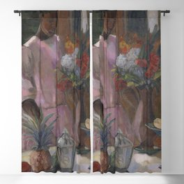 African American Masterpiece Rose Sets Easter Lilies at the Table still life by Astrid Holm Blackout Curtain