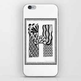Zentangle H Monogram Alphabet Initials iPhone Skin