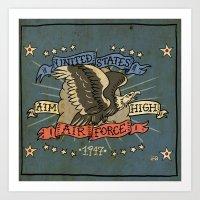 USAF TATTOO STYLE ART Art Print