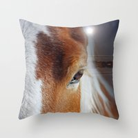 horses Throw Pillows featuring horses  by mark ashkenazi