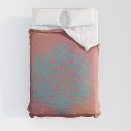 Turquoise Mandala On Terracotta Comforters