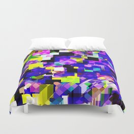 geometric square pixel pattern abstract in blue yellow pink Duvet Cover