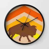 buffalo Wall Clocks featuring Buffalo by Wood Grian & Grits