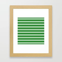 Large Horizontal Christmas Holly and Ivy Green Velvet Bed Stripes Framed Art Print