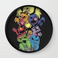 sesame street Wall Clocks featuring A Sesame Street Thriller by Anwar Rafiee