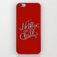 netflix iPhone & iPod Skins featuring Netflix & Chill by Keri O'Mara