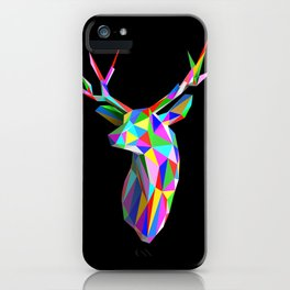 3D Stag Black Background iPhone Case