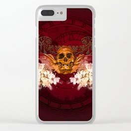 Amazing skull with flowers Clear iPhone Case