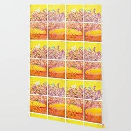Paradise Tree, quadriptych, birds Wallpaper