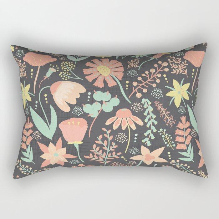 Peachy Keen Wildflowers Rectangular Pillow