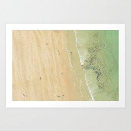 Aerial views over Polzeath Beach, Cornwall Art Print