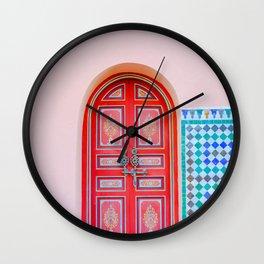 Exotic Red Door with Pink Marakkech Morocco Wall Clock