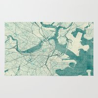 vintage map Area & Throw Rugs featuring Boston Map Blue Vintage by City Art Posters