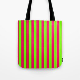Super Bright Neon Pink and Green Vertical Beach Hut Stripes Tote Bag