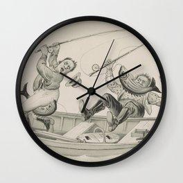 Vintage Funny Fishing Trip Illustration (1882) Wall Clock