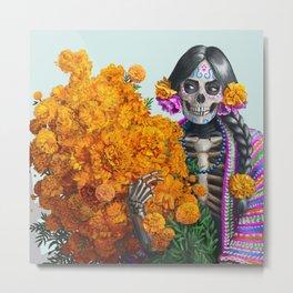 Catrina en Xochimilco Metal Print