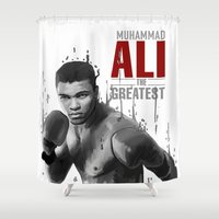 ali gulec Shower Curtains featuring Ali the greatest by daniel berea