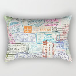 Vintage World Map with Passport Stamps Rectangular Pillow