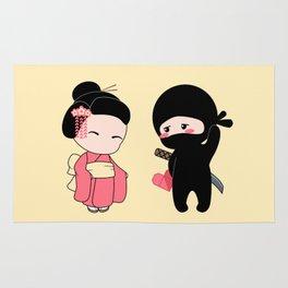 Tiny Ninja and Geisha Rug