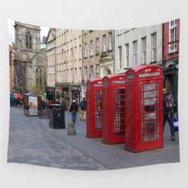 Telephone Booths Royal Mile Edinburgh Wall Tapestry