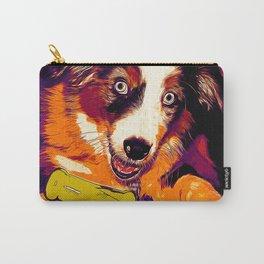 australian shepherd aussie dog puppy vector art late sunset Carry-All Pouch