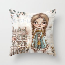 Love Me - Girl and Bunny Doll in the Garden Throw Pillow