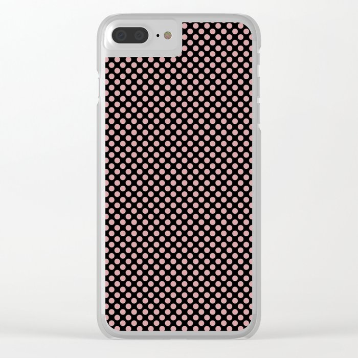 Black and Bridal Rose Polka Dots Clear iPhone Case
