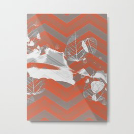 Gray and Red Metal Print