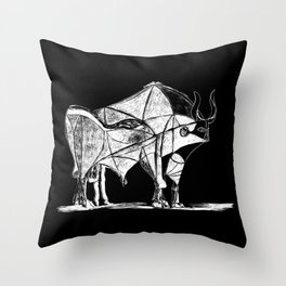 Picasso's Bull Black Throw Pillow
