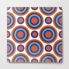 Circle Circle:  Orange, Blue, Turquoise + Brown Metal Print