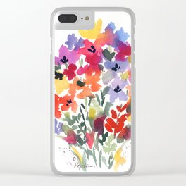Bright Wildflower Field Clear iPhone Case