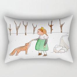 Girl and fox Rectangular Pillow