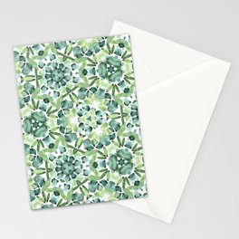 Green petal kaleidoscope  Stationery Cards