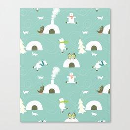 The polar bear skate-off - Fabric pattern Canvas Print
