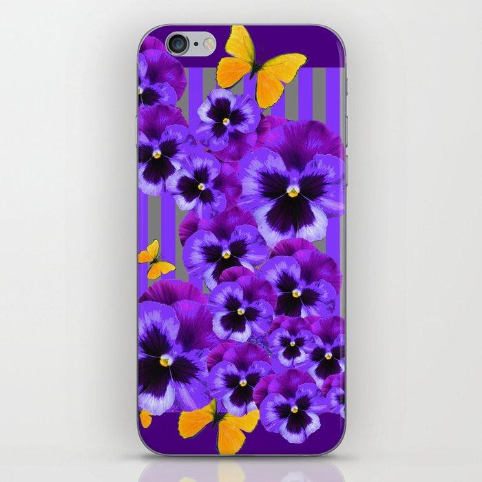 DECORATIVE GOLDEN YELLOW BUTTERFLIES PURPLE PANSY PILLOW ART iPhone Skin