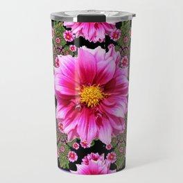 Pink Dahlia Flowers on Black-green Geometric Travel Mug