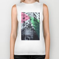 hong kong Biker Tanks featuring Hong Kong Facade 2 by jennymadeleine