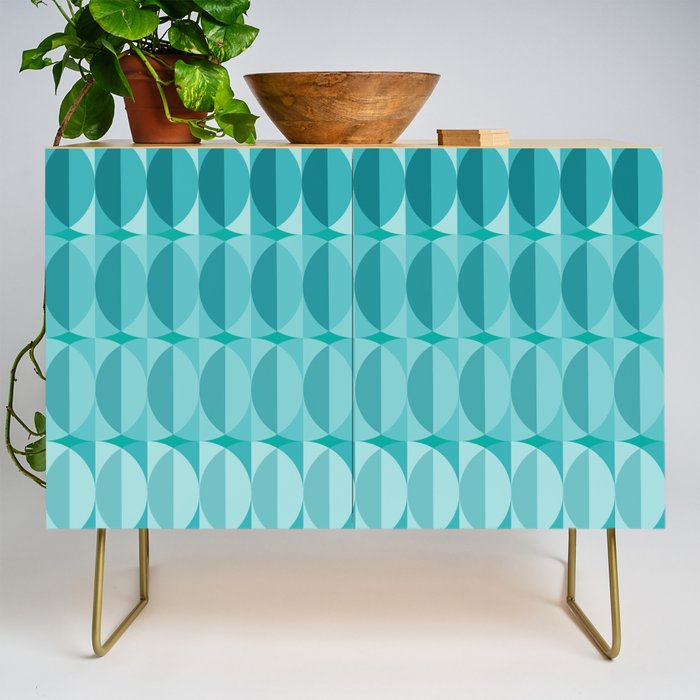 Leaves in the moonlight - a pattern in teal Credenza