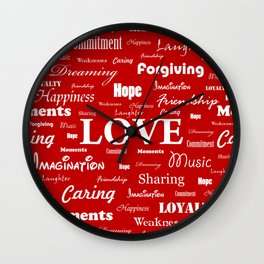 Love is Red & White Wall Clock