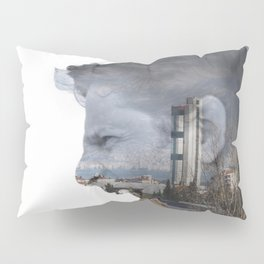 Angry shouting man face on cityscape Pillow Sham