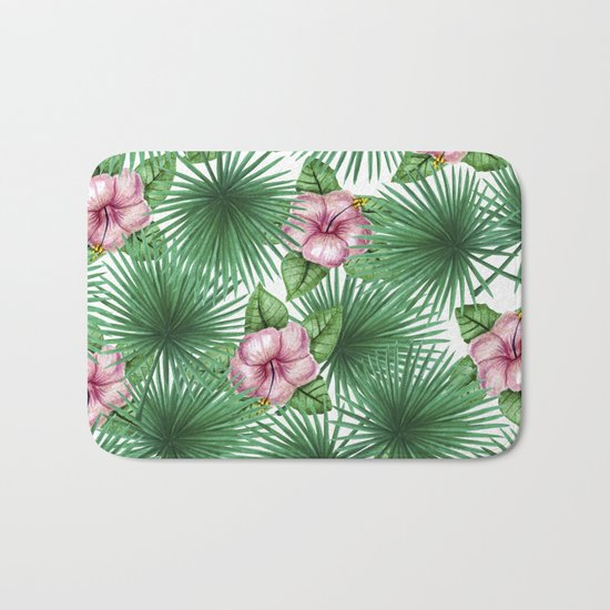 Jungle Love, Palm Leaves And Hibiscus White Bath Mat