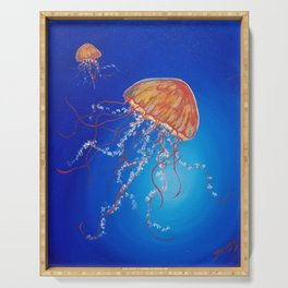 Jellyfish, Oil painting by Faye Serving Tray